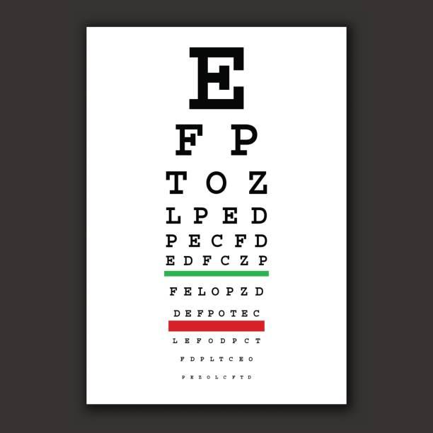ilustraciones, imágenes clip art, dibujos animados e iconos de stock de tabla de vectores de prueba óptico de la visión - optometrista