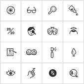 Simple vector icon set representing optical supplies, equipment, and concepts.