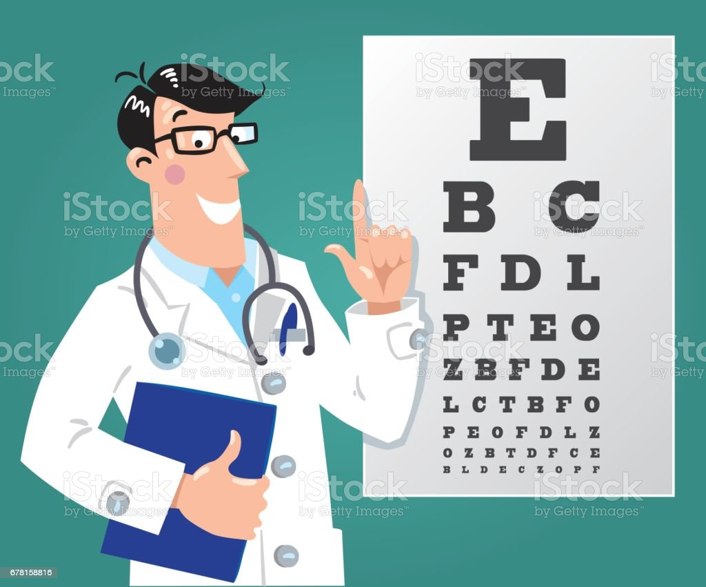 Optician doctor with Snellen eye chart. Doctor vector art illustration