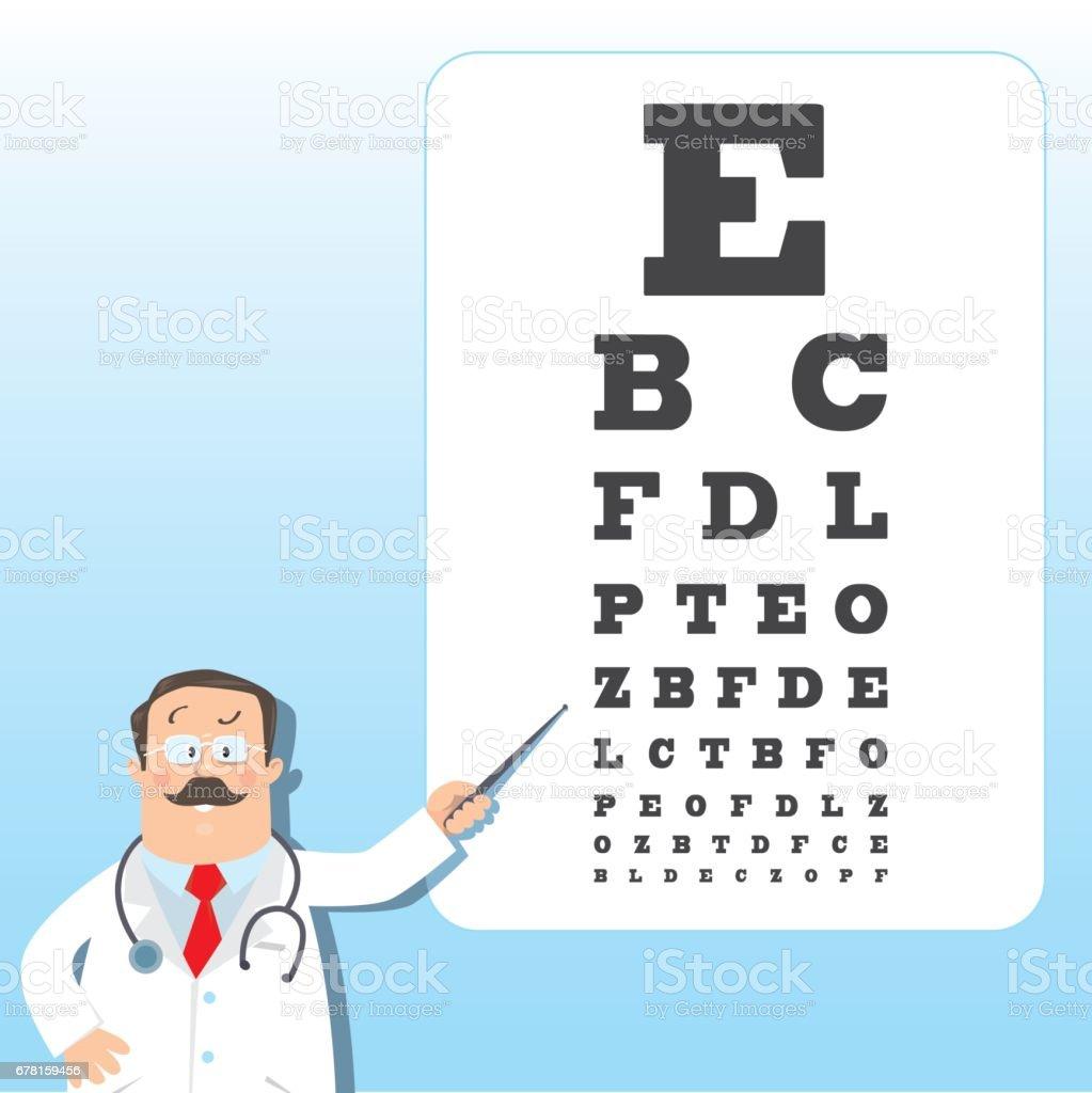 Optician doctor with snellen eye chart doctor stock vector art optician doctor with snellen eye chart doctor royalty free optician doctor with snellen eye geenschuldenfo Choice Image