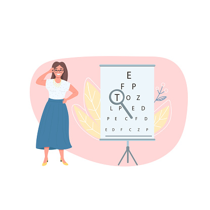 Optician female patient flat color vector faceless character