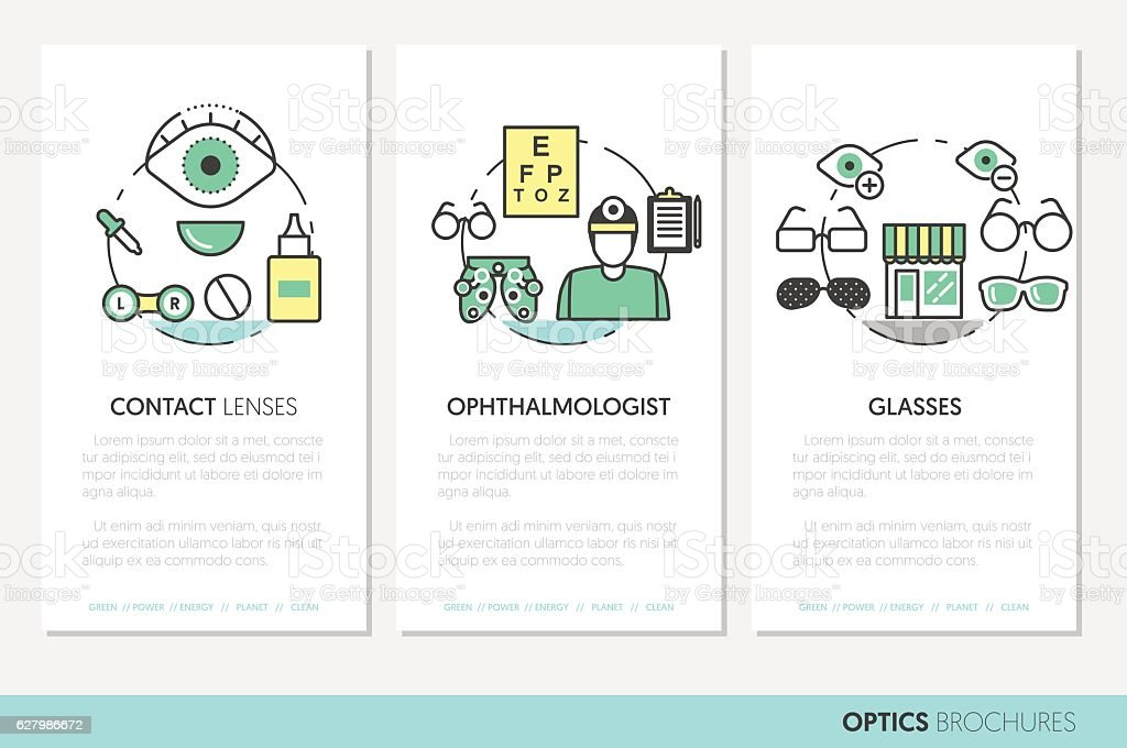 Optician Thin Line Brochures and Business Cards vector art illustration