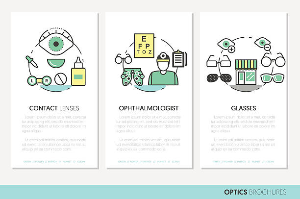 Optician Thin Line Brochures and Business Cards - ilustración de arte vectorial