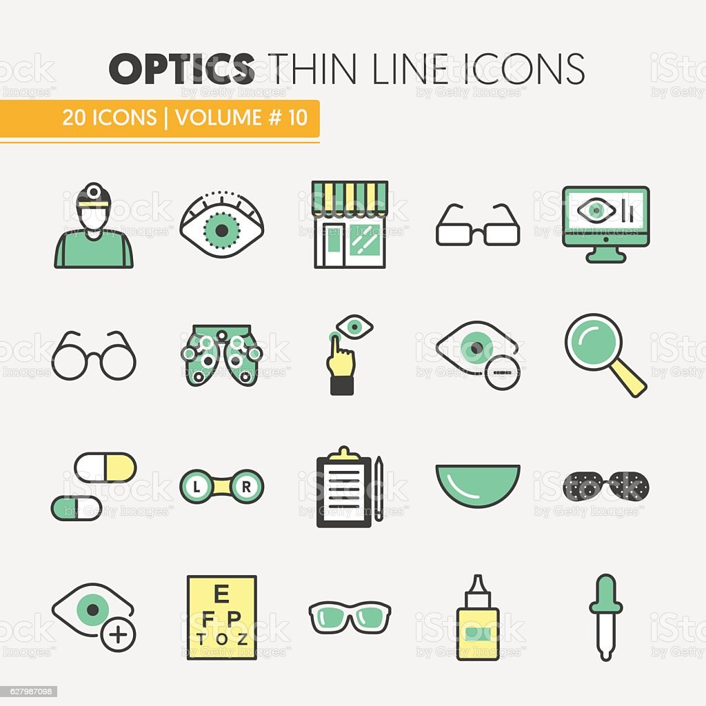 Optician Thin Line Icons Set with Optometry vector art illustration