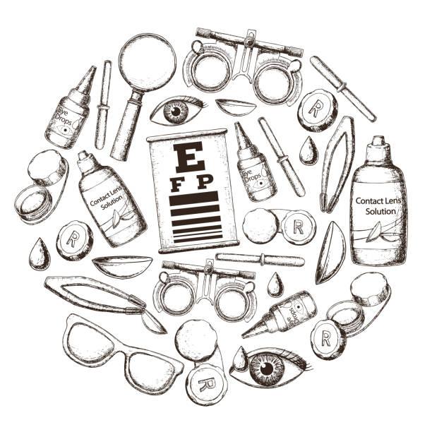 illustrations, cliparts, dessins animés et icônes de optique et acuité visuelle - opticien