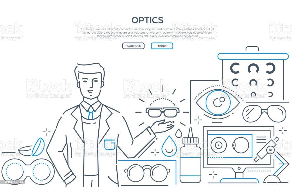 Optik - moderne Linie Design Stil Web-banner – Vektorgrafik