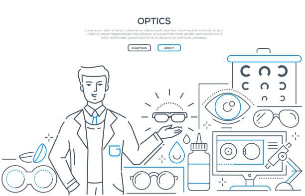 ilustraciones, imágenes clip art, dibujos animados e iconos de stock de óptica - banner de web de estilo de diseño de línea moderna - optometrista