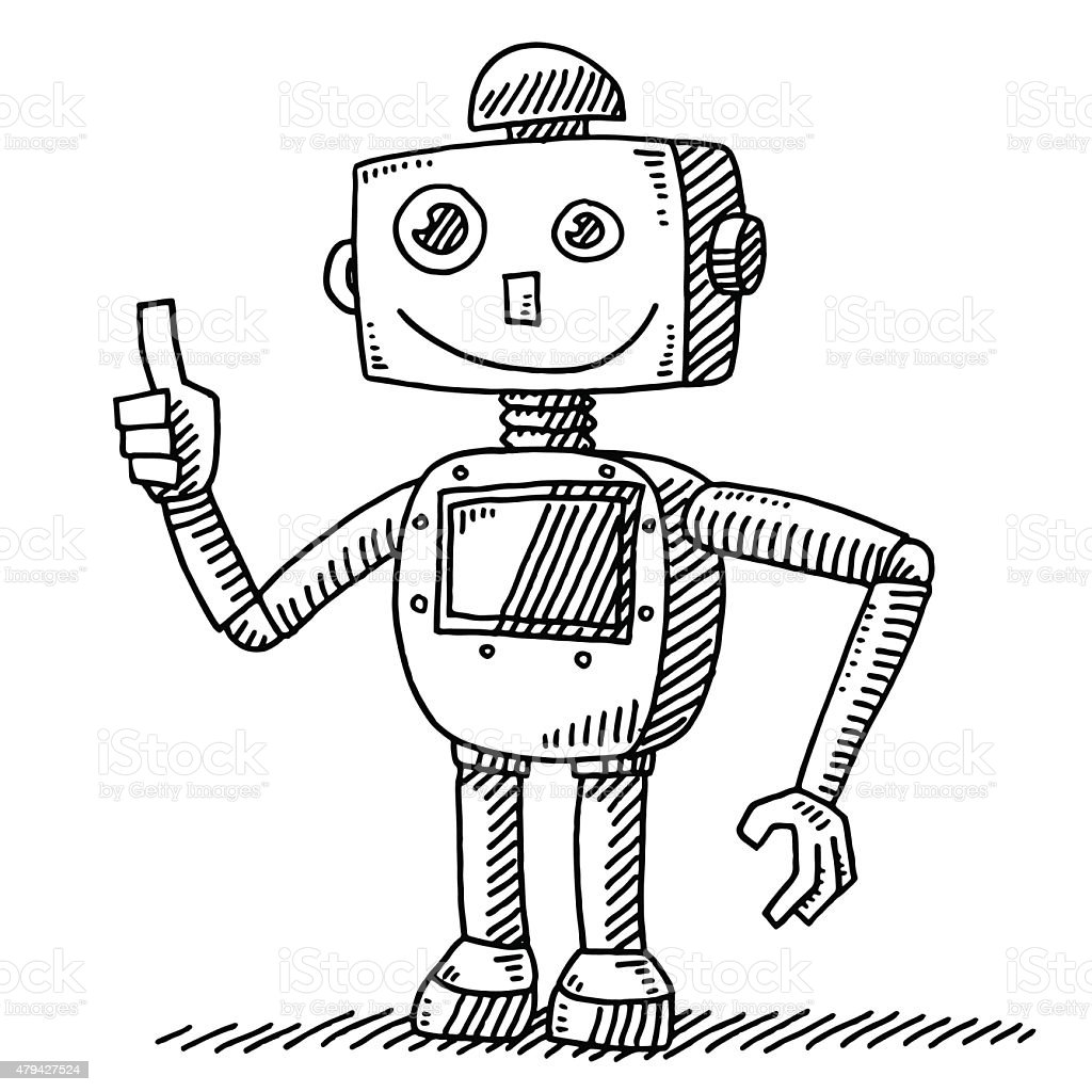 Optimistic Robot Thumb Up Hand Drawing Stock Vector Art