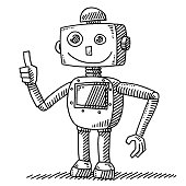 Hand-drawn vector drawing of a Optimistic Robot with a Thumb Up Hand. Black-and-White sketch on a transparent background (.eps-file). Included files are EPS (v10) and Hi-Res JPG.