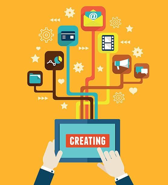 optimierung und für anwendungen für mobile geräte - computergrundlagen stock-grafiken, -clipart, -cartoons und -symbole