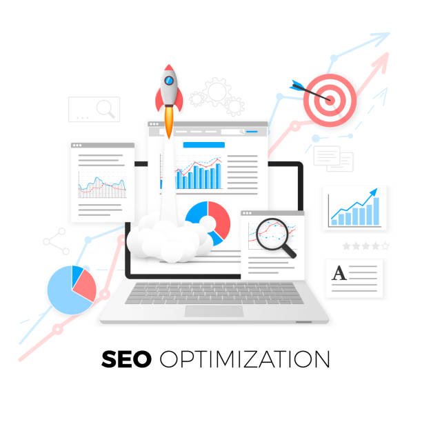 SEO optimization concept. Data analytics. Search engine optimization strategy. Content development and production. Vector illustration SEO optimization concept. Data analytics. Search engine optimization strategy. Content development and production. Vector illustration seo stock illustrations