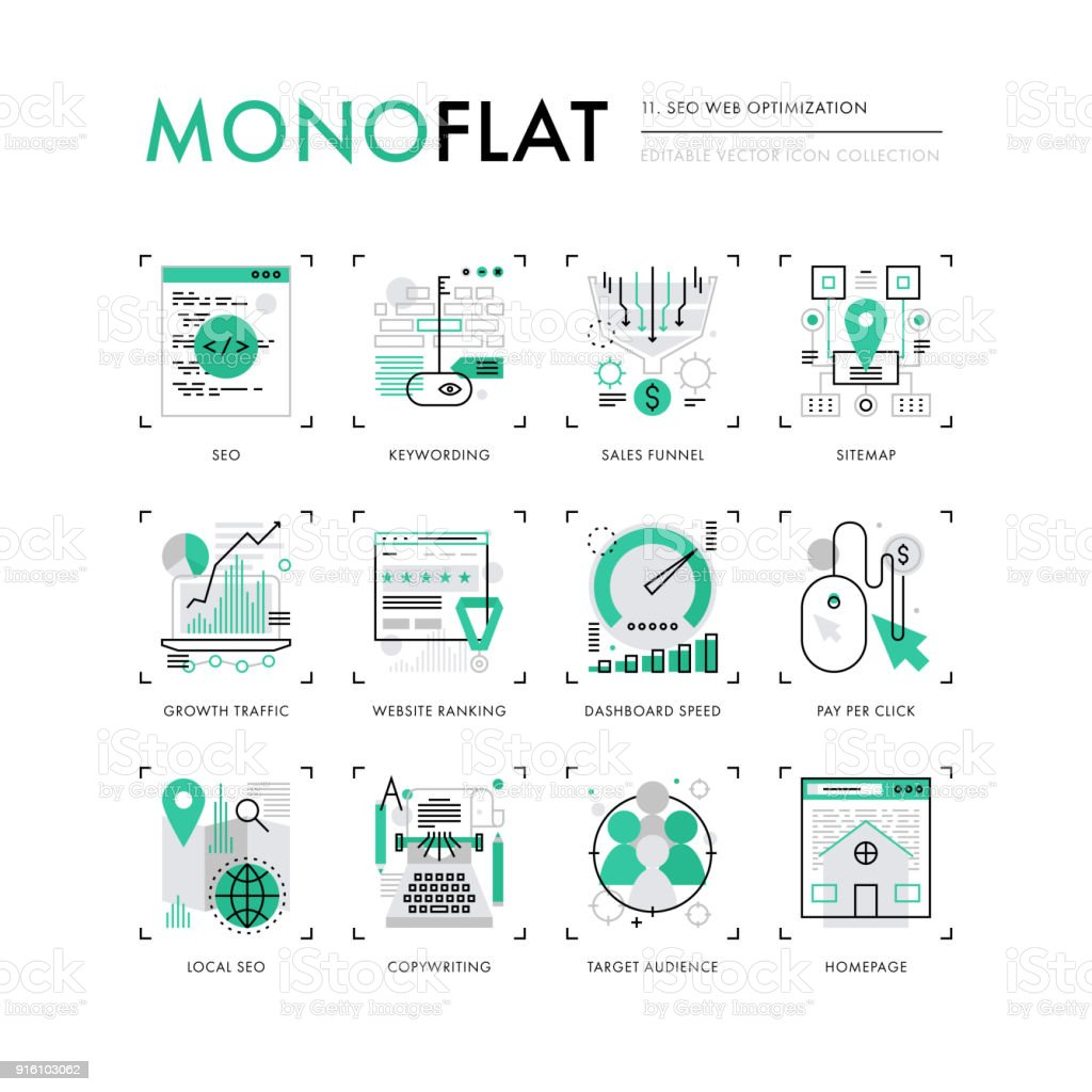 SEO Optimization Monoflat Icons vector art illustration