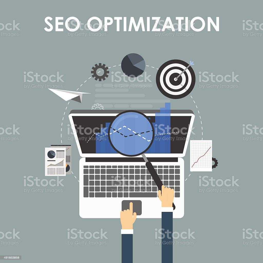 SEO optimization, programming process vector art illustration