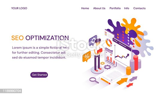 SEO Optimization webpage or website template with header tabs, text copy space, Get Started and businessman with charts and performance analytics for Search Engine Optimazation and ranking