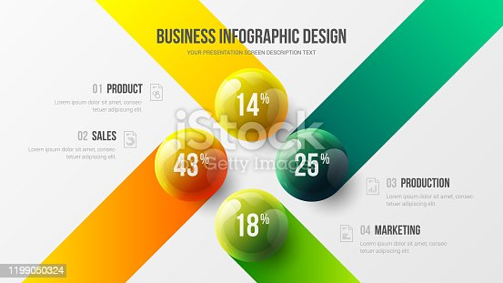 istock 4 option business infographic presentation vector 3D colorful balls illustration.  Corporate marketing analytics data report design layout. Company financial statistics graphic visualization template. 1199050324