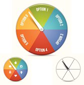 Option choice spinning wheel. EPS 10 file. Transparency effects used on highlight elements.