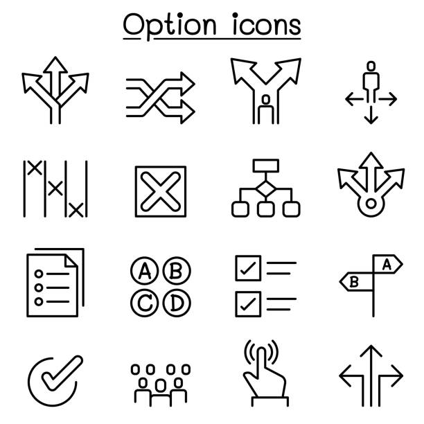 option icon set in thin line style - good bye stock illustrations, clip art, cartoons, & icons