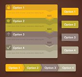 Option menu choices with copy space. EPS 10 file. Transparency used on highlight elements.