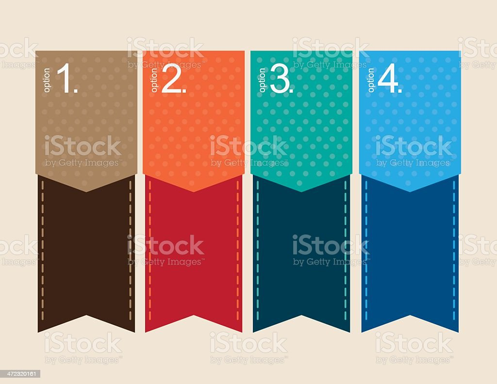 Option Tags with numbered elements vector art illustration