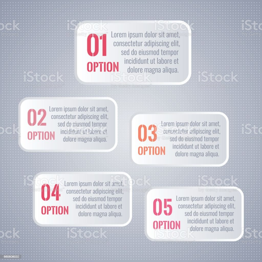 1 2 3 4 5 options. Infographic elements for business, marketing report, presentation, web design. White vector five rectangle symbols isolated on gray dotted background royalty-free 1 2 3 4 5 options infographic elements for business marketing report presentation web design white vector five rectangle symbols isolated on gray dotted background stock vector art & more images of business
