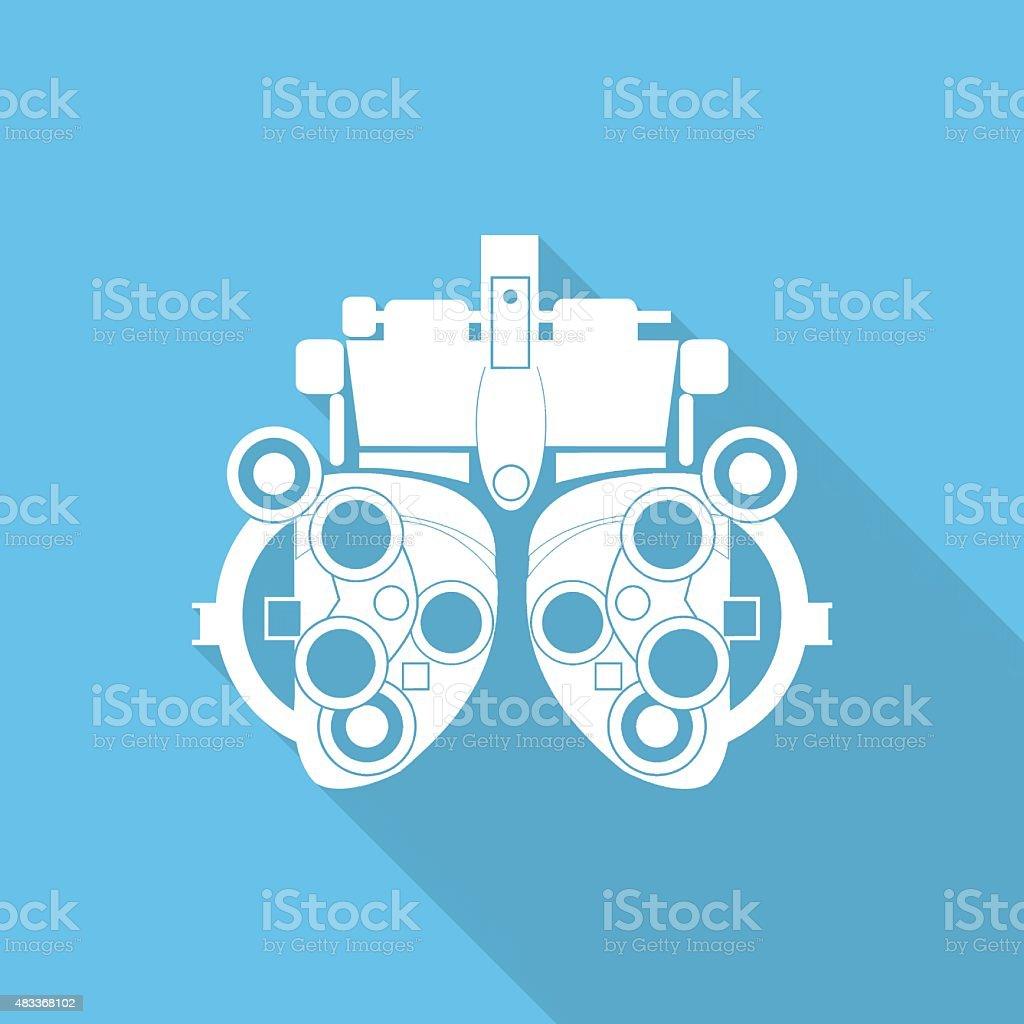 Augenoptiker diopter flach icon mit langen Schatten. – Vektorgrafik