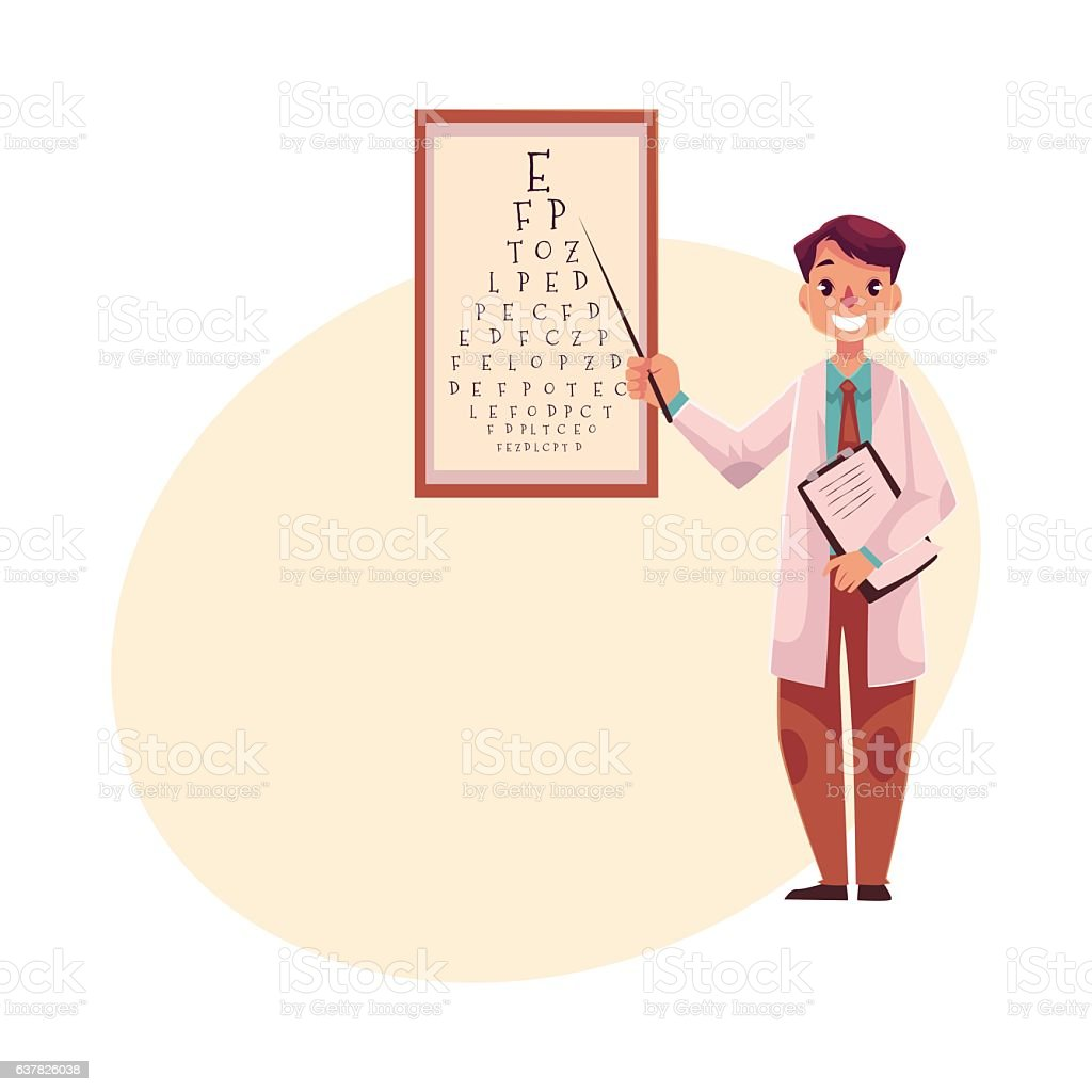 Optometrist doctor pointing to a letter on eye examination chart vector art illustration