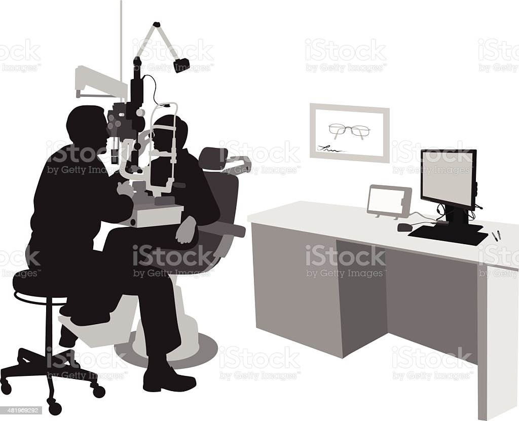 Optometrist's Office With Patient vector art illustration