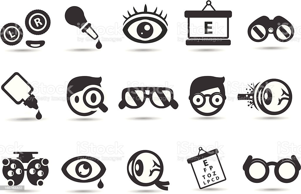 Optometry and Medical Icons vector art illustration