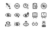 istock Optometry, Eye doctor icons. Medical laser eye surgery, glasses and eyedropper. Classic set. Vector 1177411227