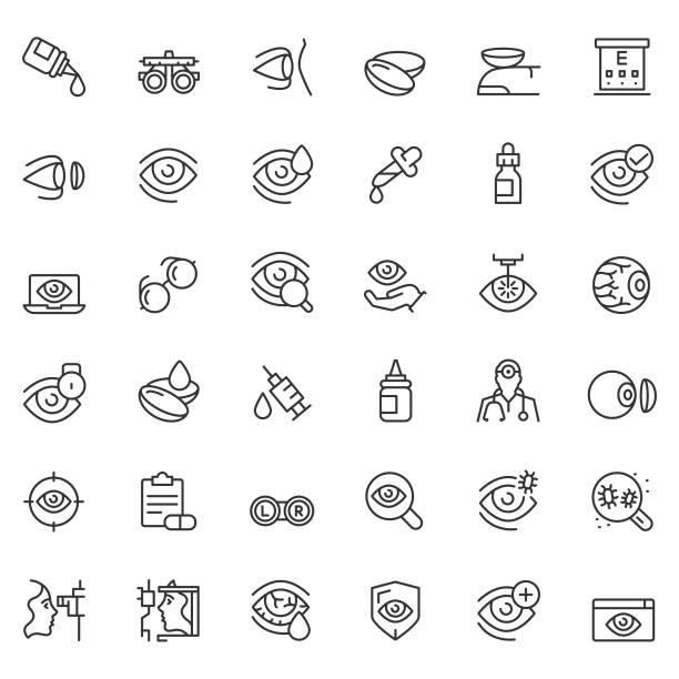 optometry icon set - оптометрия stock illustrations