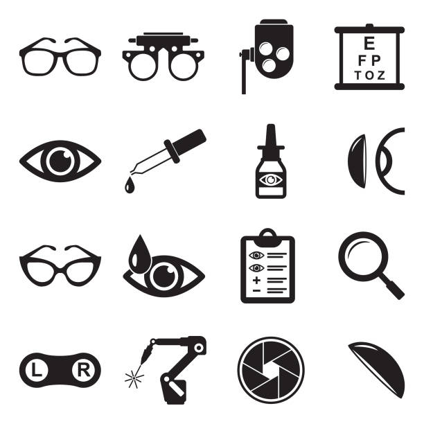 optometry icons. black flat design. vector illustration. - okulary stock illustrations