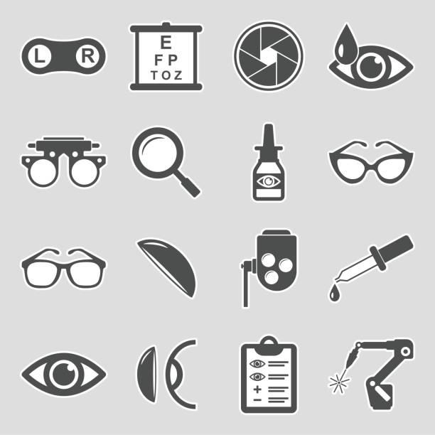 検眼アイコン。ステッカーデザイン。ベクトルイラストレーション。 - 検眼医点のイラスト素材/クリップアート素材/マンガ素材/アイコン素材