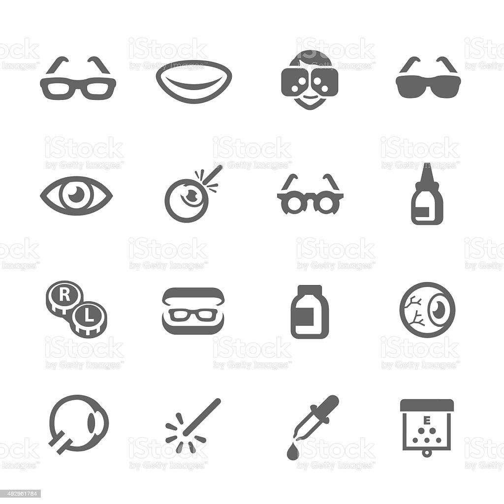 Optometry icons vector art illustration
