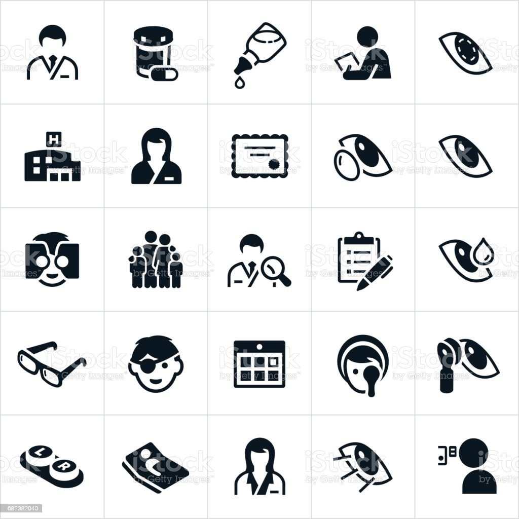 Optometry Medicine Icons vector art illustration