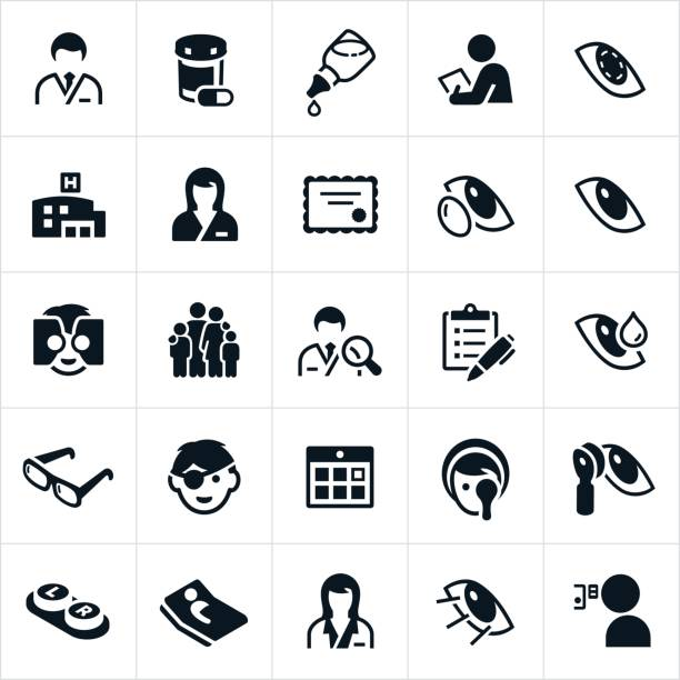 optometry medicine icons - optometrist stock illustrations, clip art, cartoons, & icons