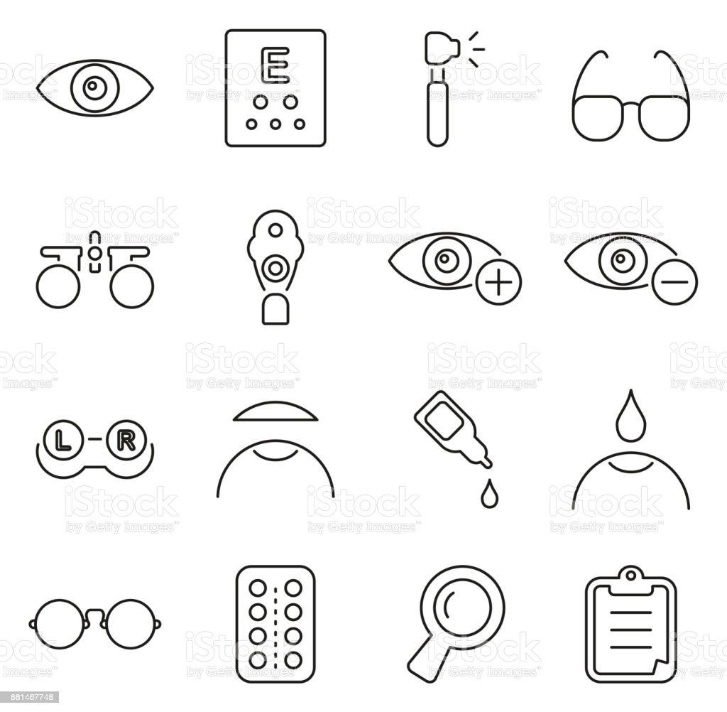 Optometrie oder Auge Prüfung Icons dünne Linie Vektor Illustration Set – Vektorgrafik