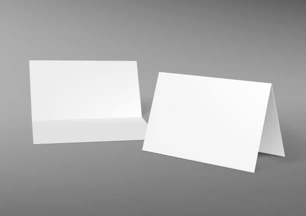 A5 Or A4 Half-fold Horizontal Blank White Brochure Realistic A4 Half-fold Horizontal Blank White Brochure Template. EPS10 Vector greeting cards templates stock illustrations