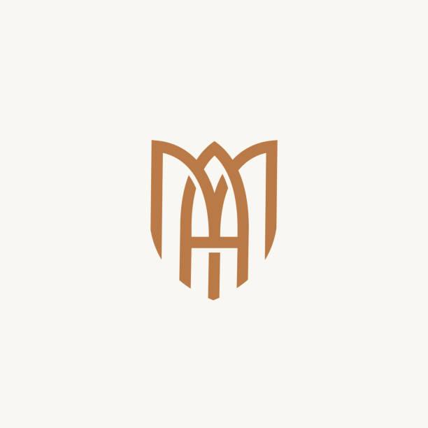 bildbanksillustrationer, clip art samt tecknat material och ikoner med ma eller am. monogram av två bokstäver a&m. lyx, enkel, minimal och elegant ma logo design. mall för vektor illustration. - lyxig monogram