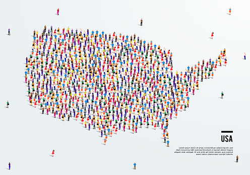 USA or America Map. Large group of people form to create a shape of United States of America Map. vector illustration.