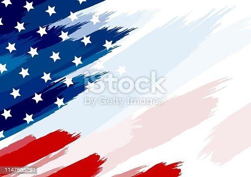 USA or american flag paintbrush on white background vector illustration