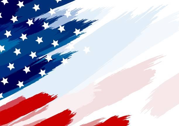USA oder amerikanische Fahnenpinsel auf weißer Hintergrundvektorillustration – Vektorgrafik