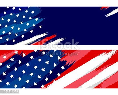 USA or american flag paintbrush on white background vector illustration