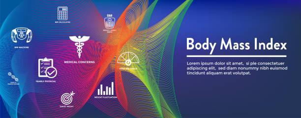 BMI oder Body Mass Index Symbole mit Skala, Kennzeichen und Rechner – Vektorgrafik
