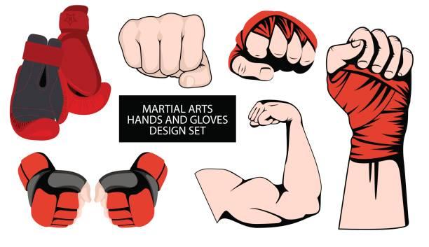stockillustraties, clipart, cartoons en iconen met mma of boksen rode handschoenen hand ontwerpelement instellen - mma