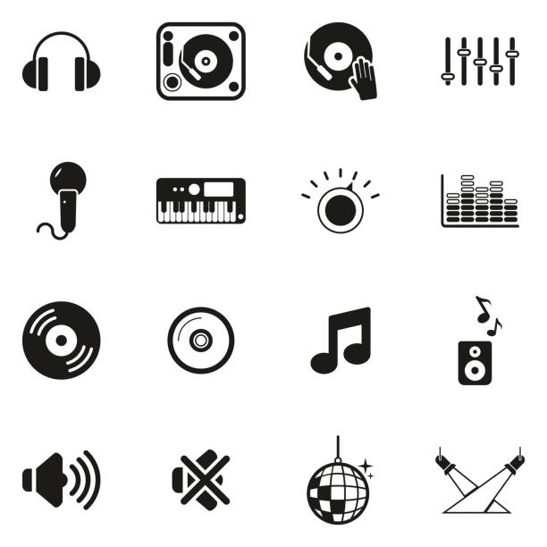 DJ or DJ Equipment Icons This image is a vector illustration and can be scaled to any size without loss of resolution. dj stock illustrations