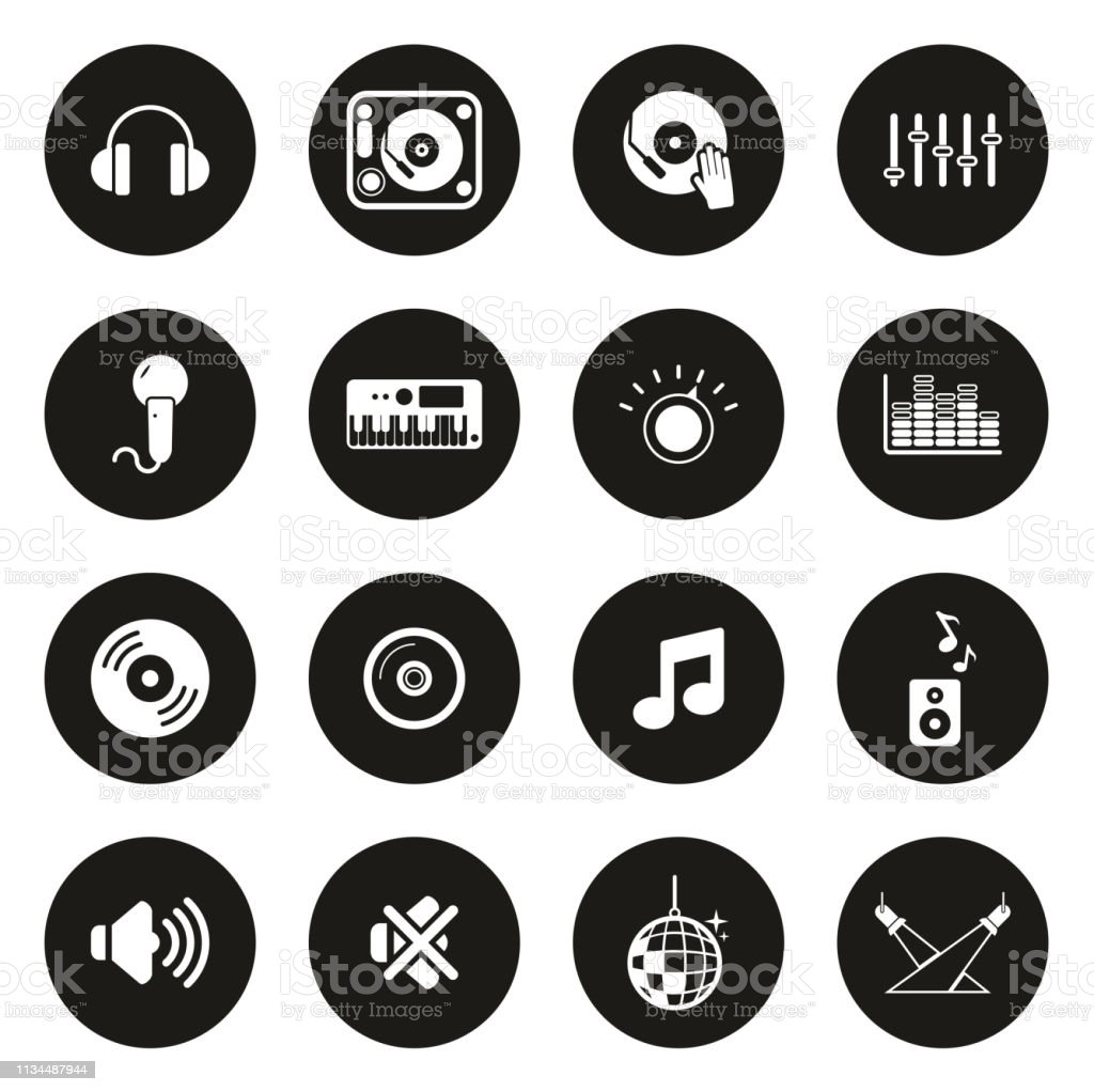 Dj Or Dj Equipment Icons White On Black Circle Stock Illustration -  Download Image Now