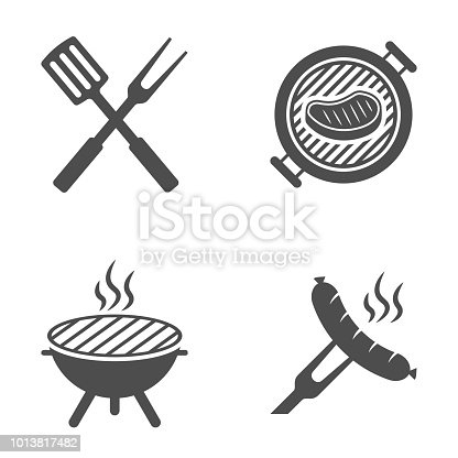 BBQ or grill tools icon. Barbecue fork with spatula. Sausage on a fork. Vector illustration.