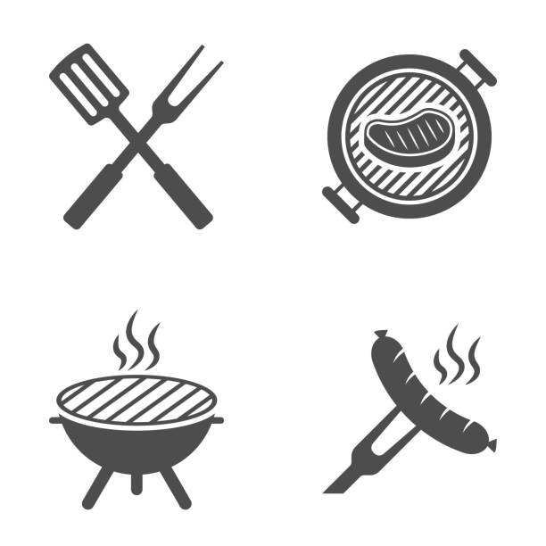 bbq or grill tools icon. barbecue fork with spatula. sausage on a fork. vector illustration. - grill stock illustrations
