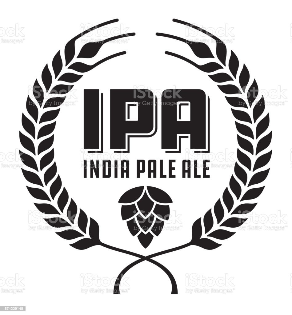 IPA or India Pale Ale Badge or Label. vector art illustration