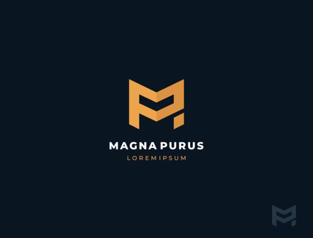 stockillustraties, clipart, cartoons en iconen met pm of mp. monogram van twee letters p&m of m&p. luxe, eenvoudige, minimale en elegante pm of mp logo design. sjabloon vector illustratie. - letter p